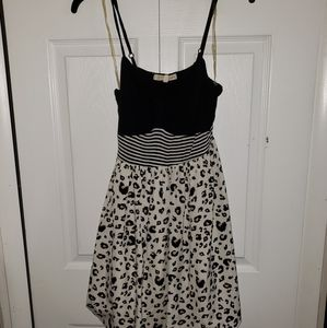 Rewind Black, White, and Leopard Print Dress